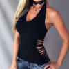 Women Black V-neck Side Cut Out Halter Sexy Camis Hollow Out