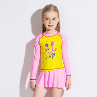 Children long sleeves high elastic fabric Quick-drying swimsuit