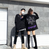Autumn country tide high street dark black loose oversize round neck sweater men and women hip hop printed fake two-piece sweater
