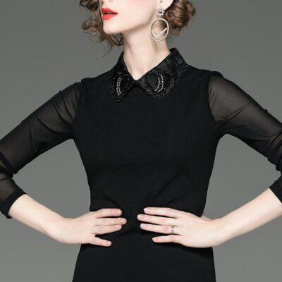 Aging doll collar mesh self-cultivation top