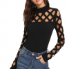 Round neck hollow long sleeve