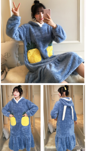 Autumn and winter pajamas long flannel cute large size nightwear