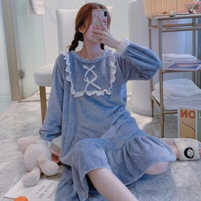 Coral fleece long-sleeved flannel thick square lace bow nightdress