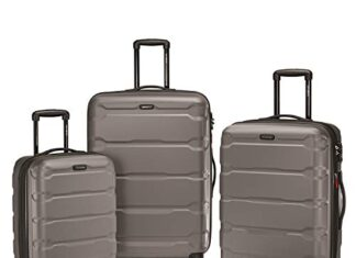 Samsonite Omni PC Hardside Expandable Luggage with Spinner Wheels, Silver, 3-Piece Set (20/24/28) -