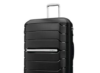 Samsonite Freeform Hardside Expandable with Double Spinner Wheels, Black, Checked-Large 28-Inch -