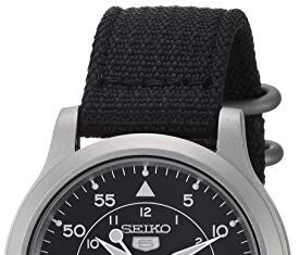 Seiko Men's SNK809 Seiko 5 Automatic Stainless Steel Watch with Black Canvas Strap -
