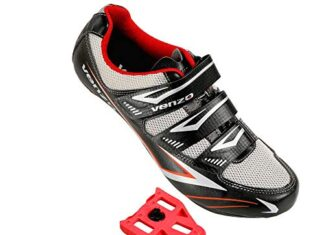 Venzo Bicycle Men's Road Cycling Riding Shoes - 3 Straps- Compatible with Peloton Shimano SPD & Look ARC Delta