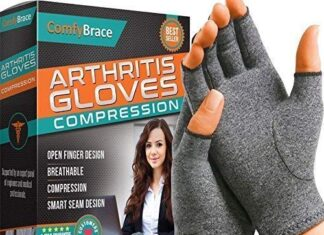 Comfy Brace Arthritis Hand Compression Gloves – Comfy Fit, Fingerless Design, Breathable & Moisture Wicking Fabric… -