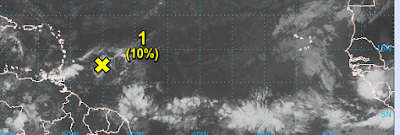 Quiet Day in the Tropics 10% But Changes Down the Tropical Road