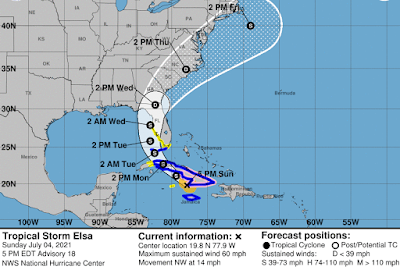 Is ELSA Really 60 MPH or Being Kept There For Continuity and for Forecasts To Verify? It's a Question. NHC Makes the Rules So Officially It Is. Cuba, then the Florida Keys …West Coast of Florida Close in Cruiser.
