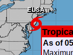 TS ELSA Still Going Strong … 50 MPH Heading Towards New England… Never Saw an East Coast City It Couldn't Stop In. Tropics Quiet a Bit Otherwise.