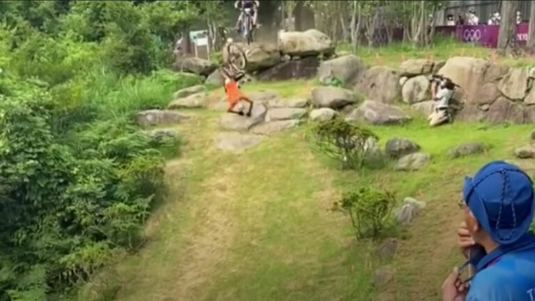 Better View of Olympic Mountain Biking Crash Captured By Spectator