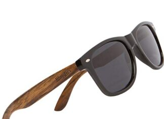 WOODIES Polarized Walnut Wood Sunglasses for Men and Women   Black Polarized Lenses and Real Wooden Frame