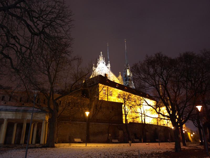 Зимний Брно ночью