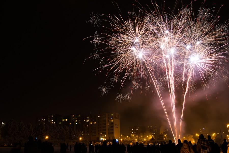 Новый год. Фейерверк в Брно (район Стары Лисковец)