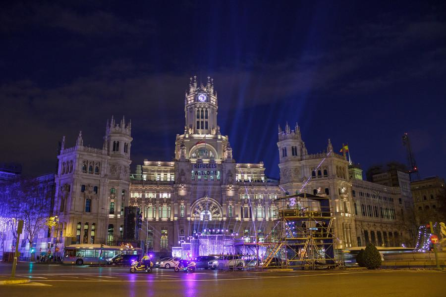 Рождественские огни на улицах Мадрида