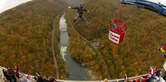 Human-Catapult-Launches-People-Off-Bridge-into-Deep-Gorge
