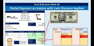 Excel-amp-Business-Math-40-Partial-Payment-on-Invoice-with-Cash-Discount-Credit-to-Account-Balance
