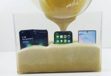 Samsung-Galaxy-Fold-vs-iPhone-11-vs-Note-10-in-Expanding-Liquid-Foam-that-Hardens