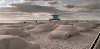 Artist-Leandro-Erlich-creates-sand-covered-traffic-jam-on-Miami-beach
