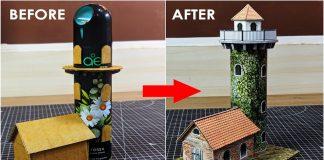 DIY-Old-Light-house-Using-Cardboard-Boxes-amp-empty-spray-bottle-model-making